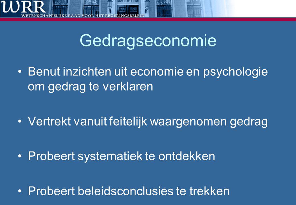 Gedragseconomie Benut inzichten uit economie en psychologie om gedrag te verklaren Vertrekt vanuit feitelijk waargenomen gedrag Probeert systematiek te ontdekken Probeert beleidsconclusies te trekken