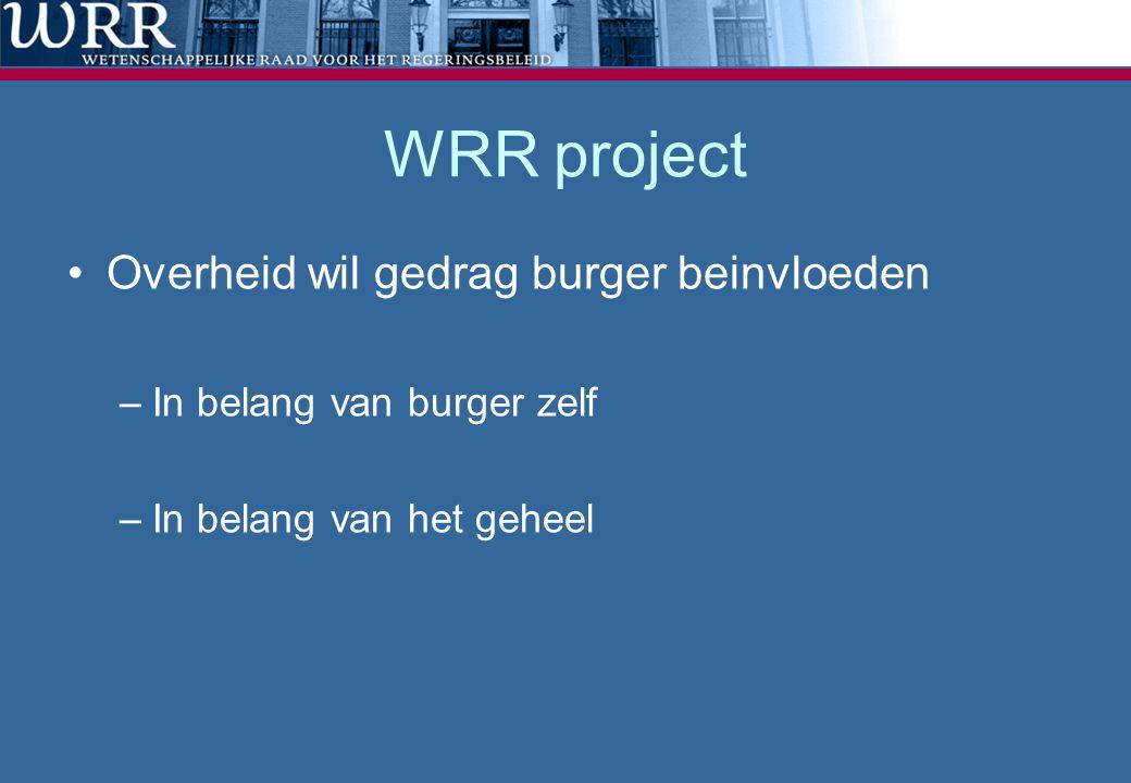WRR project Overheid wil gedrag burger beinvloeden –In belang van burger zelf –In belang van het geheel