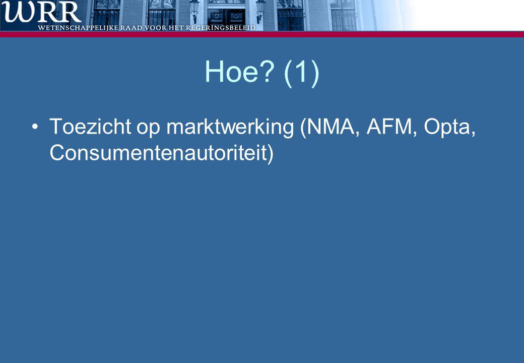 Hoe? (1) Toezicht op marktwerking (NMA, AFM, Opta, Consumentenautoriteit)