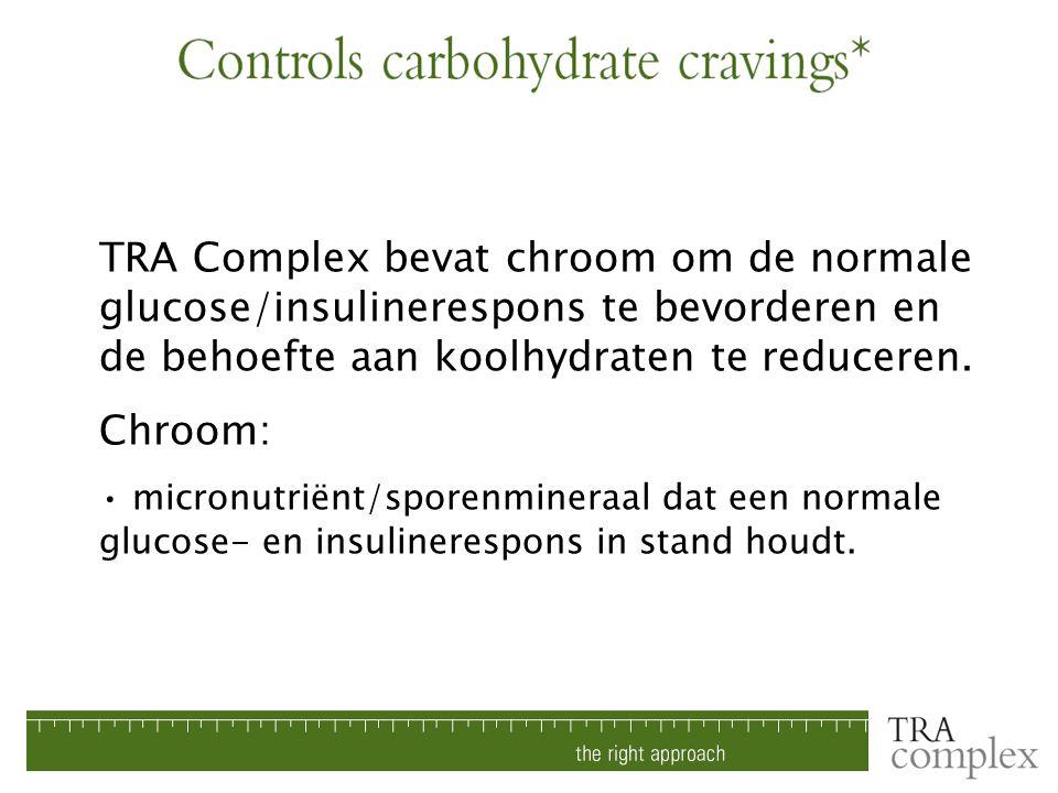 TRA Complex bevat chroom om de normale glucose/insulinerespons te bevorderen en de behoefte aan koolhydraten te reduceren. Chroom: micronutriënt/spore