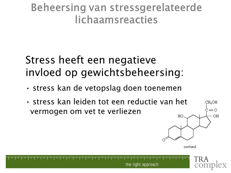 Beheersing van stressgerelateerde lichaamsreacties Stress heeft een negatieve invloed op gewichtsbeheersing: stress kan de vetopslag doen toenemen str