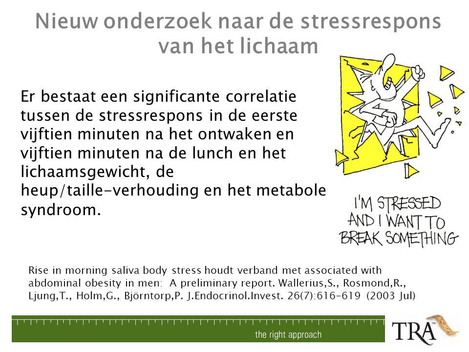 Nieuw onderzoek naar de stressrespons van het lichaam Rise in morning saliva body stress houdt verband met associated with abdominal obesity in men: A