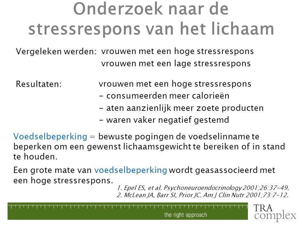 vrouwen met een hoge stressrespons vrouwen met een lage stressrespons Een grote mate van voedselbeperking wordt geasassocieerd met een hoge stressresp
