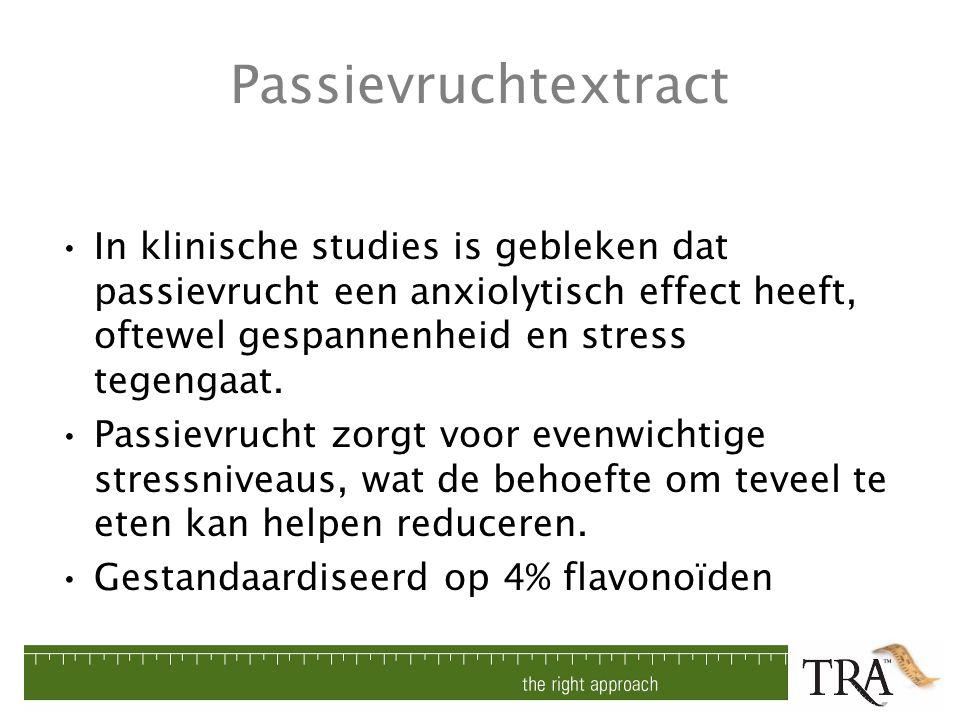 Passievruchtextract In klinische studies is gebleken dat passievrucht een anxiolytisch effect heeft, oftewel gespannenheid en stress tegengaat. Passie