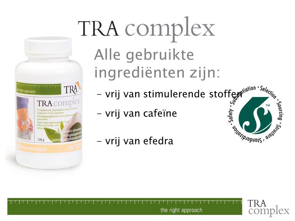 - vrij van stimulerende stoffen - vrij van cafeïne - vrij van efedra Alle gebruikte ingrediënten zijn: