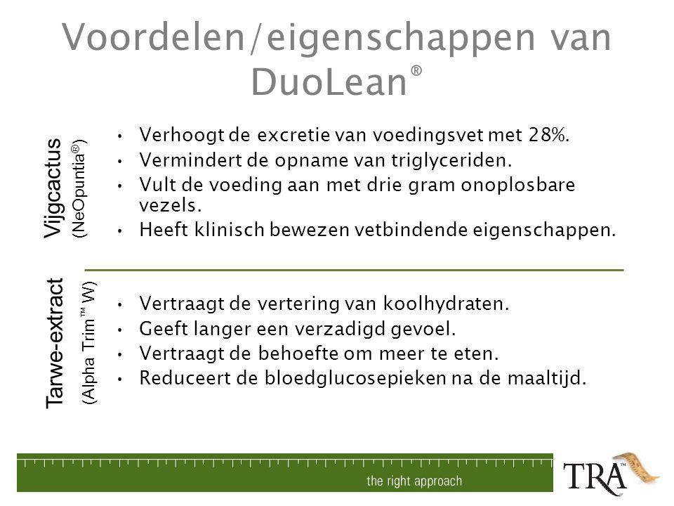 Voordelen/eigenschappen van DuoLean ® Verhoogt de excretie van voedingsvet met 28%. Vermindert de opname van triglyceriden. Vult de voeding aan met dr