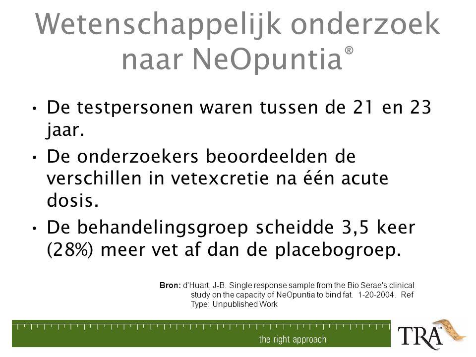Wetenschappelijk onderzoek naar NeOpuntia ® De testpersonen waren tussen de 21 en 23 jaar. De onderzoekers beoordeelden de verschillen in vetexcretie