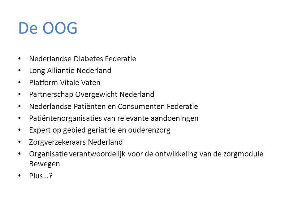 De OOG Nederlandse Diabetes Federatie Long Alliantie Nederland Platform Vitale Vaten Partnerschap Overgewicht Nederland Nederlandse Patiënten en Consumenten Federatie Patiëntenorganisaties van relevante aandoeningen Expert op gebied geriatrie en ouderenzorg Zorgverzekeraars Nederland Organisatie verantwoordelijk voor de ontwikkeling van de zorgmodule Bewegen Plus…