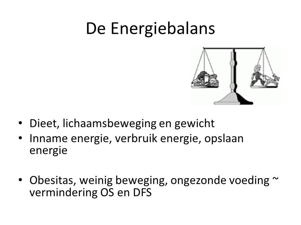 De Energiebalans Dieet, lichaamsbeweging en gewicht Inname energie, verbruik energie, opslaan energie Obesitas, weinig beweging, ongezonde voeding ~ v