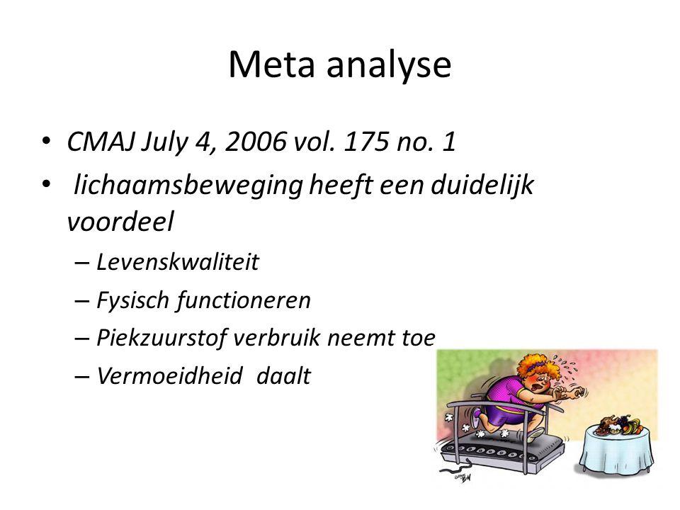Meta analyse CMAJ July 4, 2006 vol. 175 no. 1 lichaamsbeweging heeft een duidelijk voordeel – Levenskwaliteit – Fysisch functioneren – Piekzuurstof ve