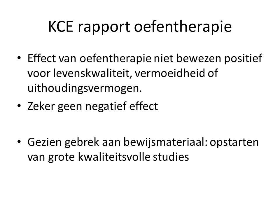 KCE rapport oefentherapie Effect van oefentherapie niet bewezen positief voor levenskwaliteit, vermoeidheid of uithoudingsvermogen. Zeker geen negatie