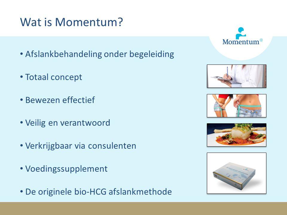 Afslankbehandeling onder begeleiding Totaal concept Bewezen effectief Veilig en verantwoord Verkrijgbaar via consulenten Voedingssupplement De originele bio-HCG afslankmethode Wat is Momentum?