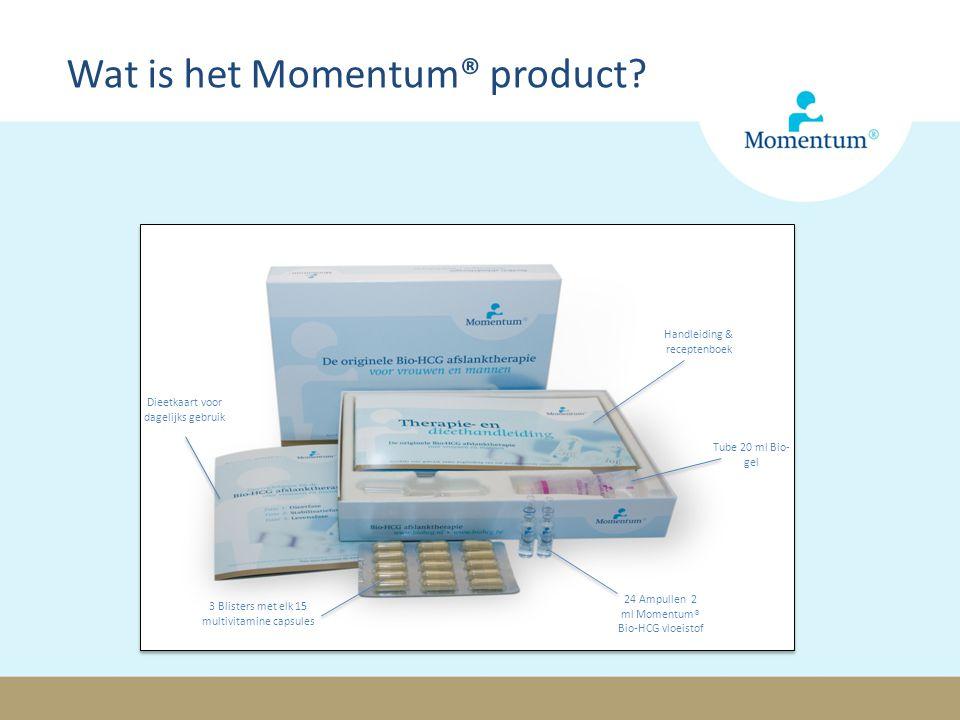 Handleiding & receptenboek Dieetkaart voor dagelijks gebruik 3 Blisters met elk 15 multivitamine capsules 24 Ampullen 2 ml Momentum® Bio-HCG vloeistof Tube 20 ml Bio- gel Wat is het Momentum® product?