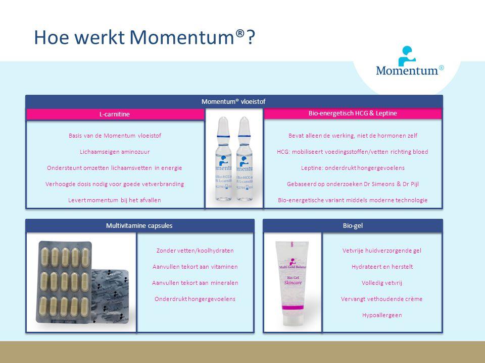 Hoe werkt Momentum®? Momentum® vloeistof L-carnitine Bio-energetisch HCG & Leptine Basis van de Momentum vloeistof Lichaamseigen aminozuur Ondersteunt