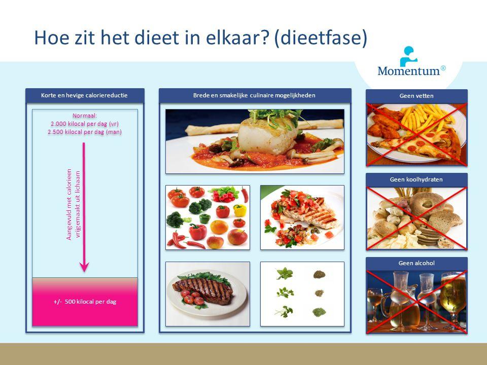 Hoe zit het dieet in elkaar? (dieetfase) Geen vetten Geen koolhydraten Geen alcohol Korte en hevige caloriereductie +/- 500 kilocal per dag Normaal: 2
