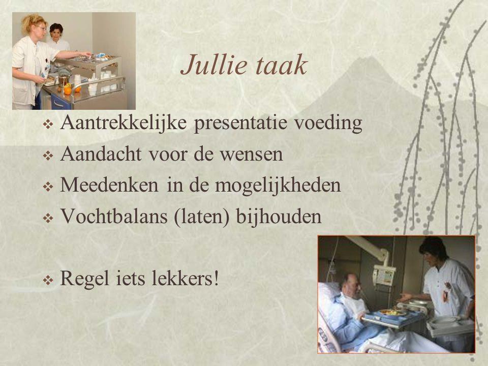 Jullie taak  Aantrekkelijke presentatie voeding  Aandacht voor de wensen  Meedenken in de mogelijkheden  Vochtbalans (laten) bijhouden  Regel iet