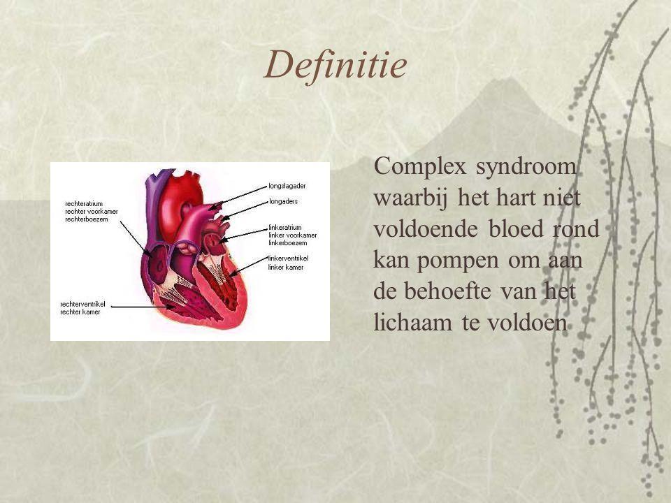 Definitie Complex syndroom waarbij het hart niet voldoende bloed rond kan pompen om aan de behoefte van het lichaam te voldoen