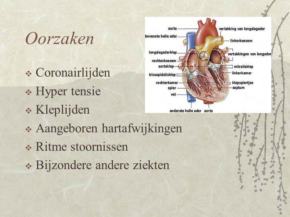 Oorzaken  Coronairlijden  Hyper tensie  Kleplijden  Aangeboren hartafwijkingen  Ritme stoornissen  Bijzondere andere ziekten