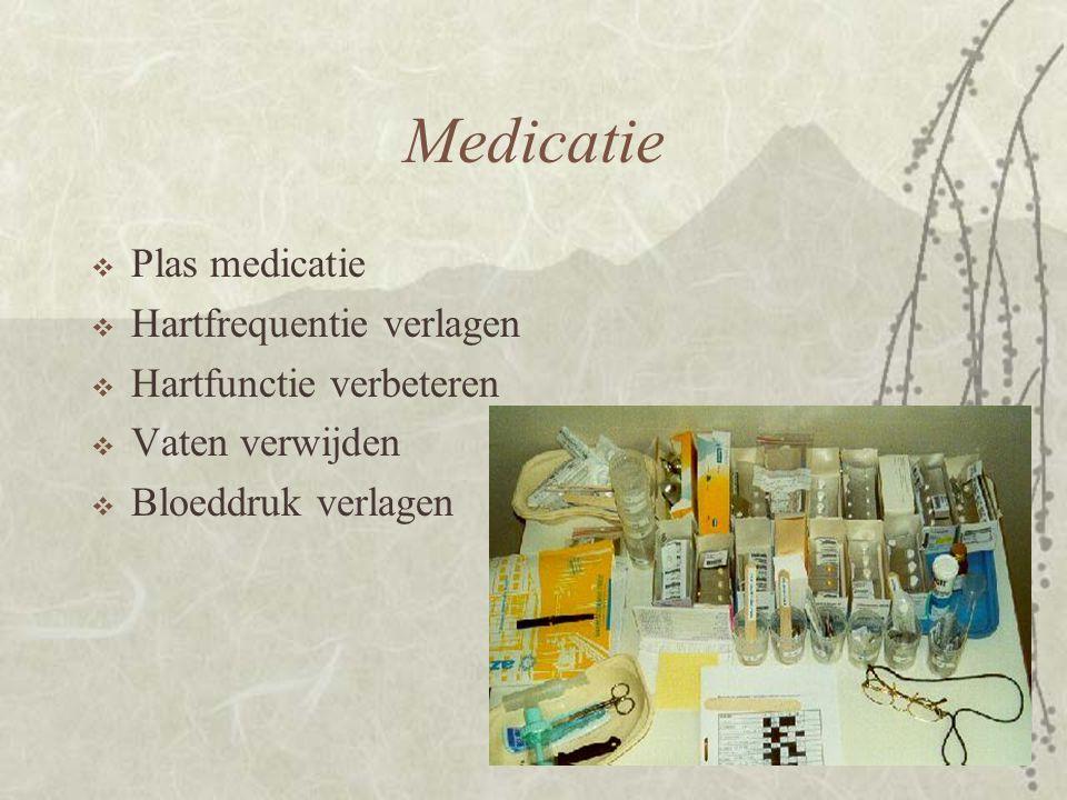 Medicatie  Plas medicatie  Hartfrequentie verlagen  Hartfunctie verbeteren  Vaten verwijden  Bloeddruk verlagen