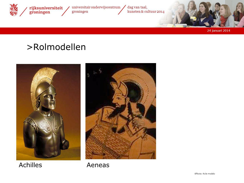 24 januari 2014 universitair onderwijscentrum groningen dag van taal, kunsten & cultuur 2014 Effects: Role models >Rolmodellen AchillesAeneas