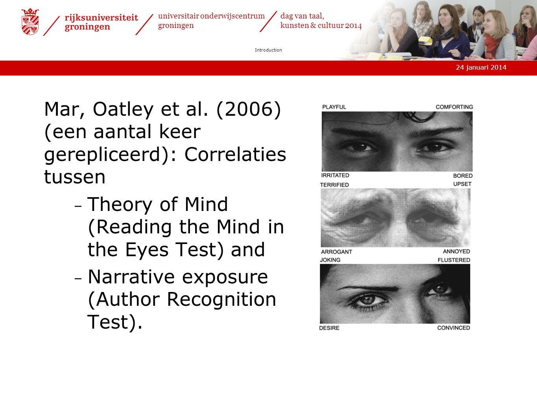 24 januari 2014 universitair onderwijscentrum groningen dag van taal, kunsten & cultuur 2014 Introduction Mar, Oatley et al.