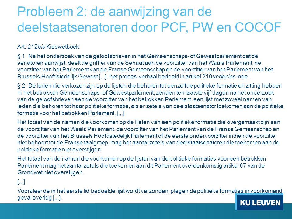 Probleem 2: de aanwijzing van de deelstaatsenatoren door PCF, PW en COCOF Art.