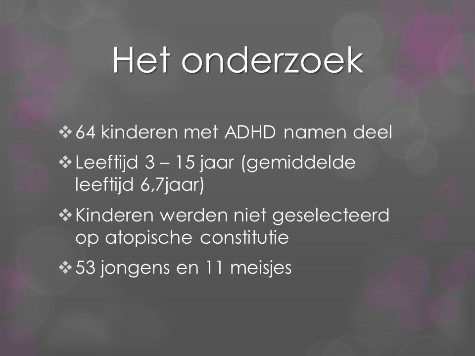 Het onderzoek  64 kinderen met ADHD namen deel  Leeftijd 3 – 15 jaar (gemiddelde leeftijd 6,7jaar)  Kinderen werden niet geselecteerd op atopische constitutie  53 jongens en 11 meisjes
