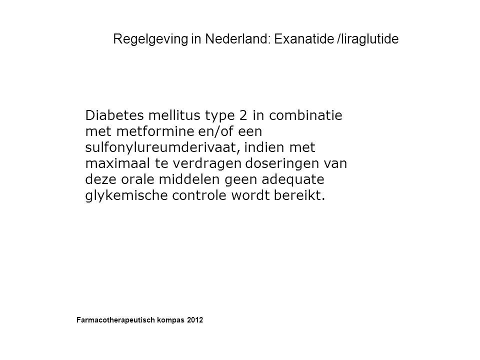 Regelgeving in Nederland: Exanatide /liraglutide Diabetes mellitus type 2 in combinatie met metformine en/of een sulfonylureumderivaat, indien met max