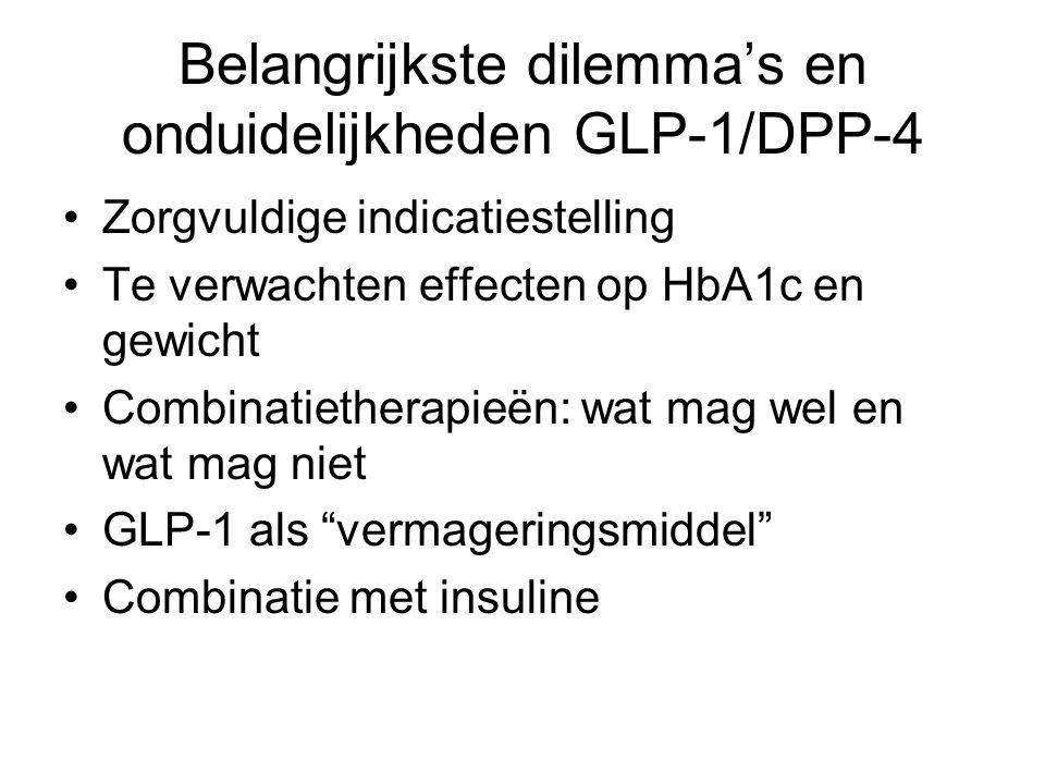 Belangrijkste dilemma's en onduidelijkheden GLP-1/DPP-4 Zorgvuldige indicatiestelling Te verwachten effecten op HbA1c en gewicht Combinatietherapieën: