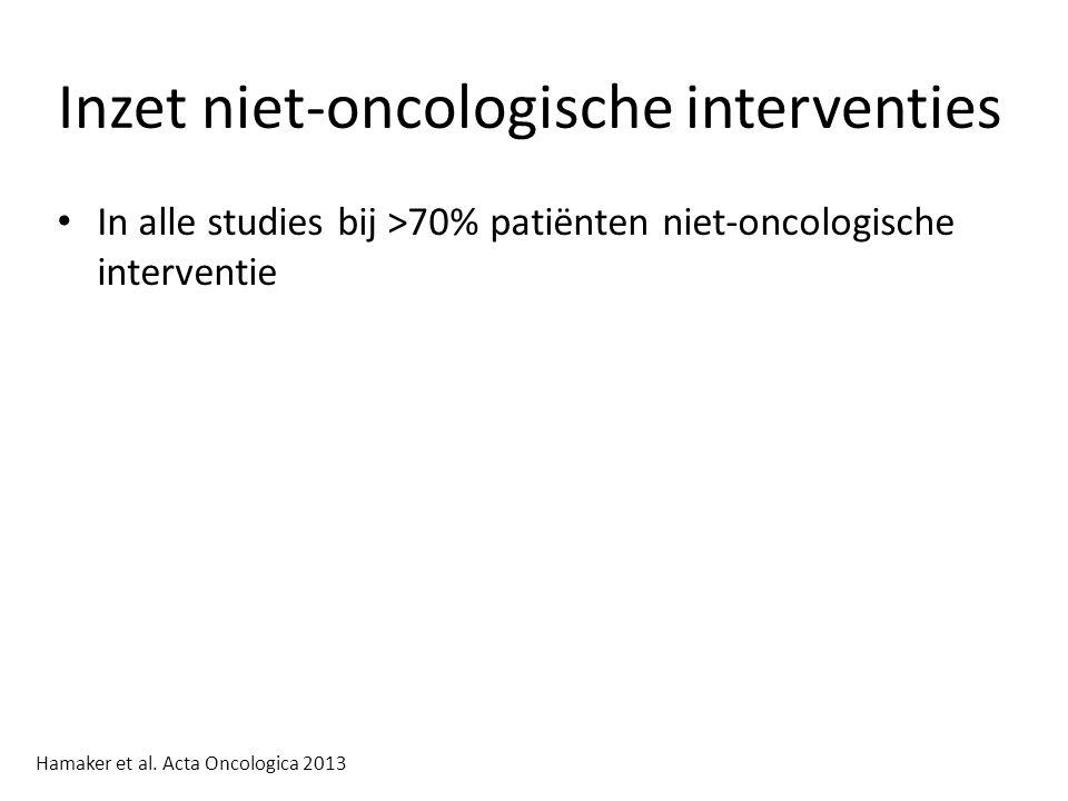 Inzet niet-oncologische interventies In alle studies bij >70% patiënten niet-oncologische interventie Hamaker et al.