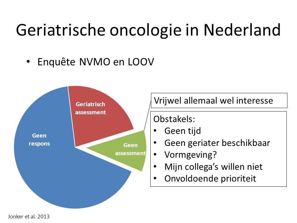 Geriatrische oncologie in Nederland Enquête NVMO en LOOV Vrijwel allemaal wel interesse Jonker et al.