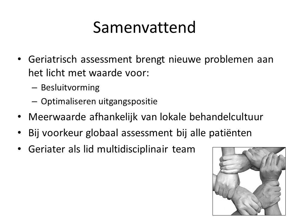 Samenvattend Geriatrisch assessment brengt nieuwe problemen aan het licht met waarde voor: – Besluitvorming – Optimaliseren uitgangspositie Meerwaarde afhankelijk van lokale behandelcultuur Bij voorkeur globaal assessment bij alle patiënten Geriater als lid multidisciplinair team