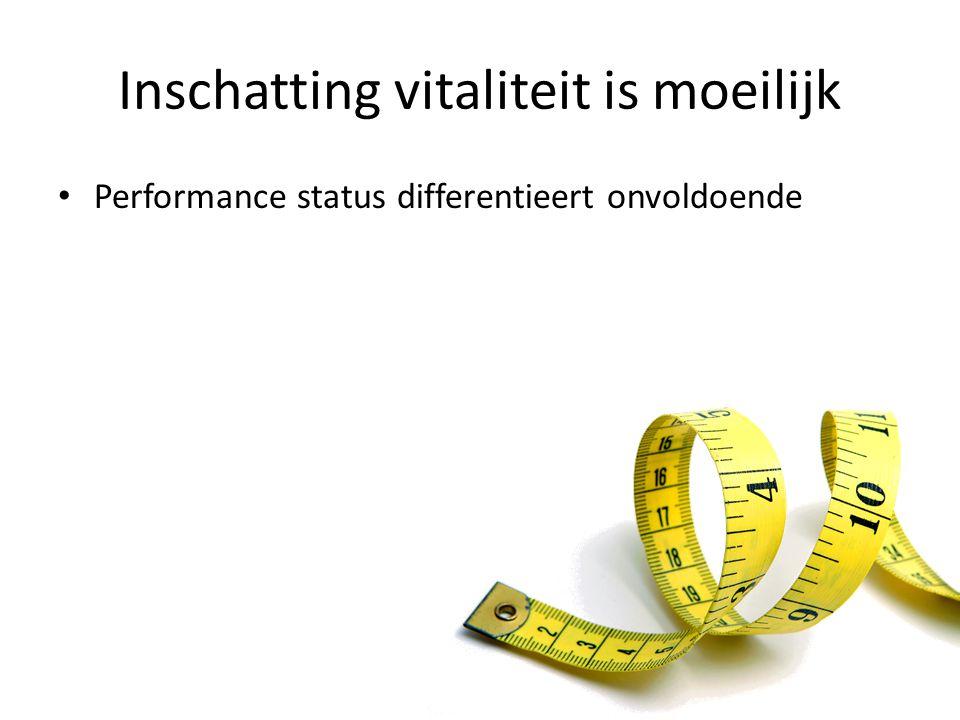 Inschatting vitaliteit is moeilijk Performance status differentieert onvoldoende