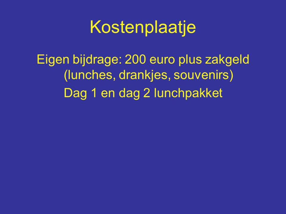 Kostenplaatje Eigen bijdrage: 200 euro plus zakgeld (lunches, drankjes, souvenirs) Dag 1 en dag 2 lunchpakket