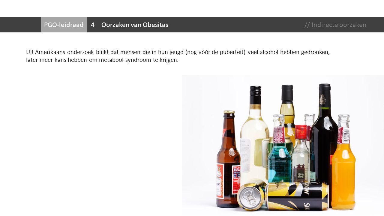 PGO-leidraadOorzaken van Obesitas Uit Amerikaans onderzoek blijkt dat mensen die in hun jeugd (nog vóór de puberteit) veel alcohol hebben gedronken, l