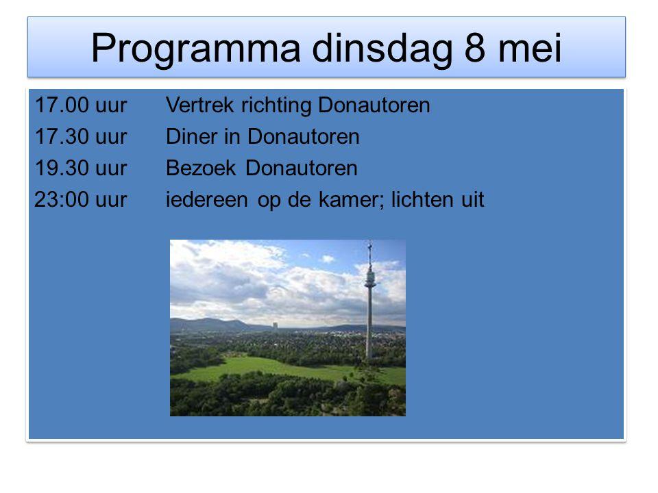 Programma dinsdag 8 mei 17.00 uur Vertrek richting Donautoren 17.30 uurDiner in Donautoren 19.30 uurBezoek Donautoren 23:00 uuriedereen op de kamer; l