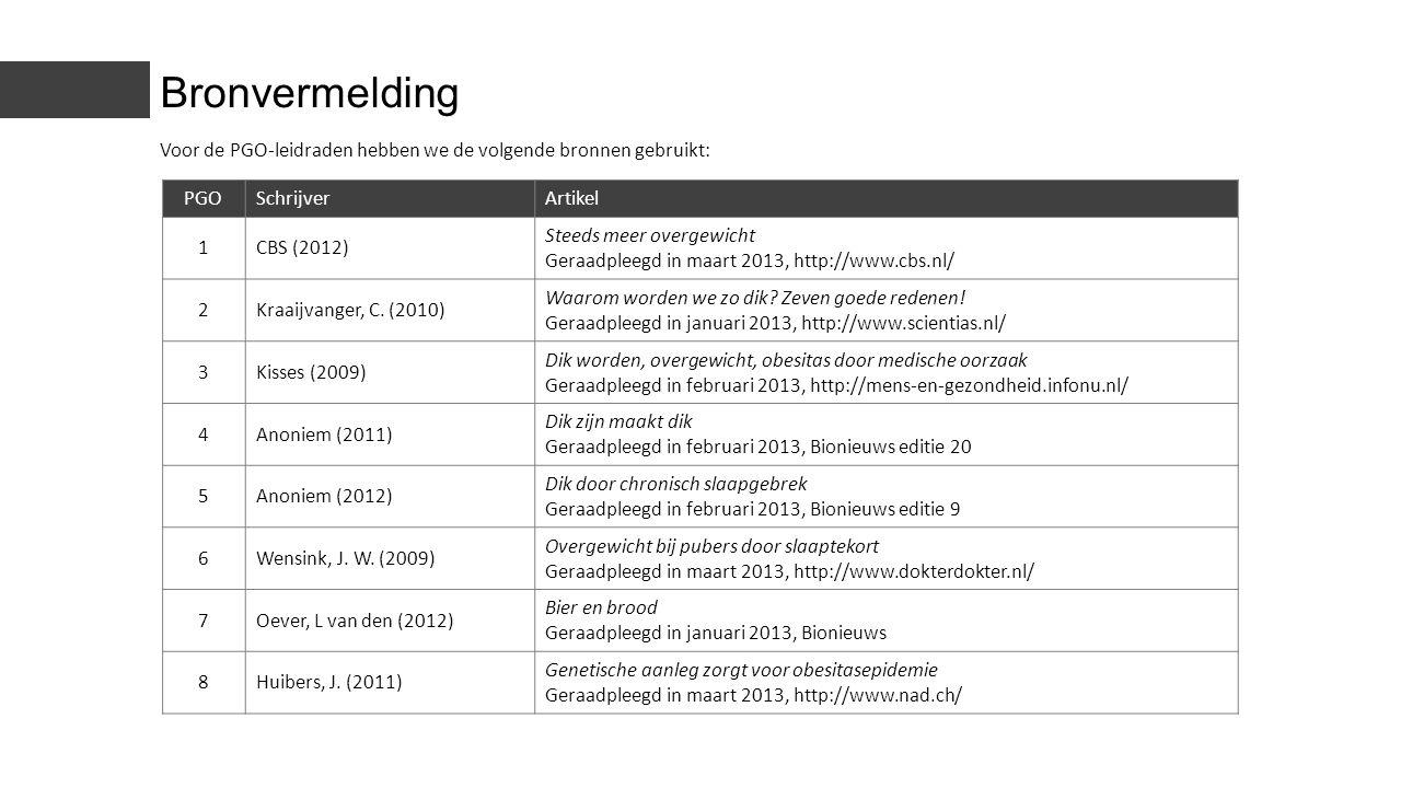 PGOSchrijverArtikel 1CBS (2012) Steeds meer overgewicht Geraadpleegd in maart 2013, http://www.cbs.nl/ 2Kraaijvanger, C. (2010) Waarom worden we zo di