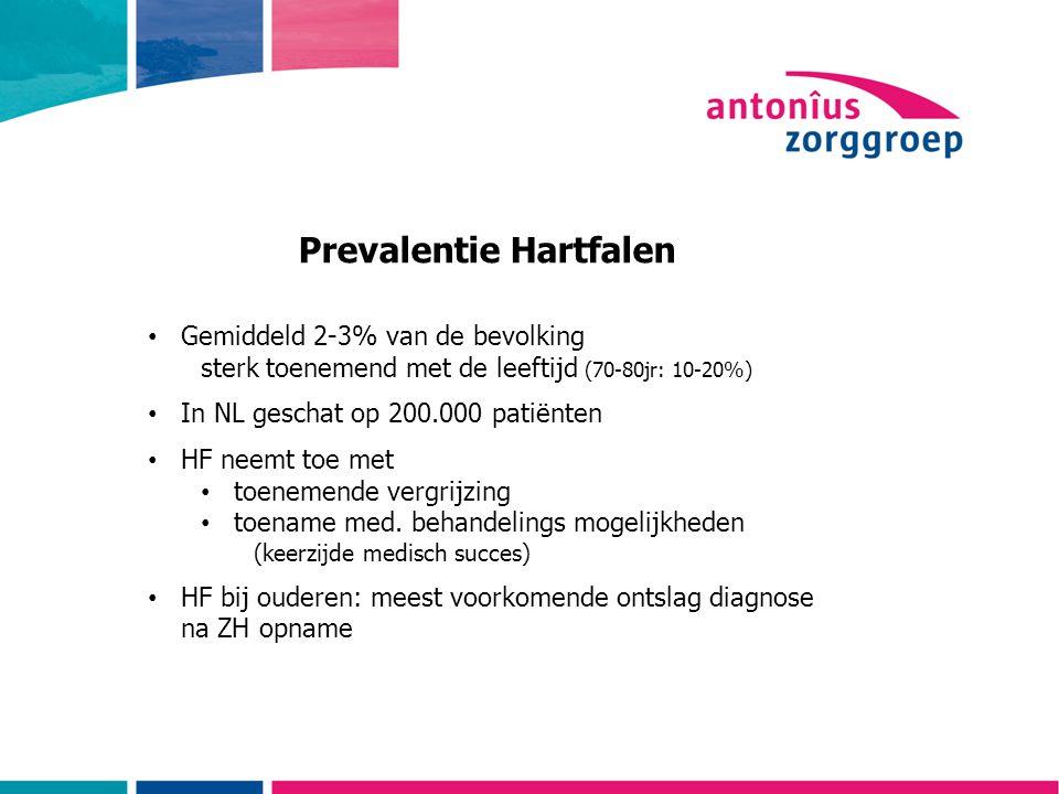 Prevalentie Hartfalen Gemiddeld 2-3% van de bevolking sterk toenemend met de leeftijd (70-80jr: 10-20%) In NL geschat op 200.000 patiënten HF neemt toe met toenemende vergrijzing toename med.