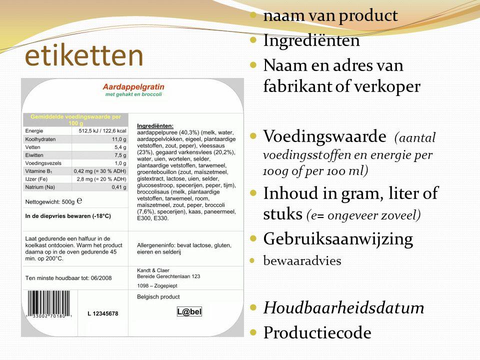 etiketten naam van product Ingrediënten Naam en adres van fabrikant of verkoper Voedingswaarde (aantal voedingsstoffen en energie per 100g of per 100
