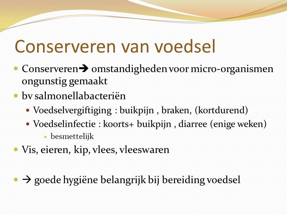 Conserveren van voedsel Conserveren  omstandigheden voor micro-organismen ongunstig gemaakt bv salmonellabacteriën Voedselvergiftiging : buikpijn, br