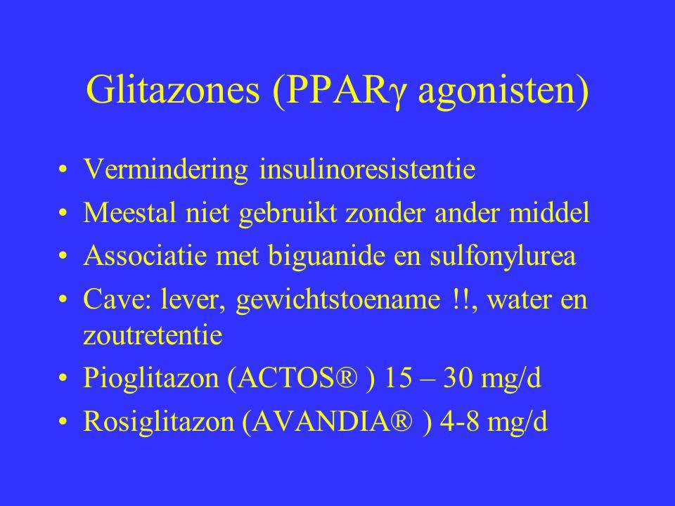 Glitazones (PPARγ agonisten) Vermindering insulinoresistentie Meestal niet gebruikt zonder ander middel Associatie met biguanide en sulfonylurea Cave: lever, gewichtstoename !!, water en zoutretentie Pioglitazon (ACTOS® ) 15 – 30 mg/d Rosiglitazon (AVANDIA® ) 4-8 mg/d