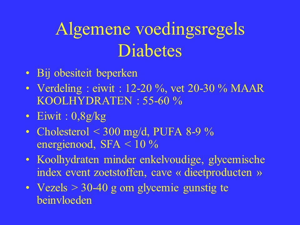 Glycemische Index Snelheid glucose in bloed na eten versus wit brood = 100 Hoog: honing(126), cornflakes (121), bananen (84), havermout (89), suiker (83), rijst(81),chips(77), aardappelpuree(98) Laag : volle melk(44), appel (52), erwten (50), peanuts(15)
