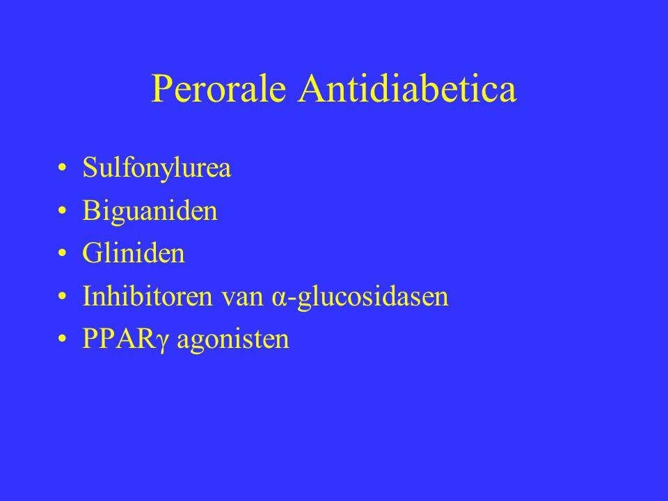 Sulfonylurea Stimuleren insulinesecretie Eerste generatie : uit de markt, kortwerkend Tweede generatie langwerkend nu voorkeurstherapie Chloorpropamide : zeer langwerkend, antidiuretisch en antabus effect