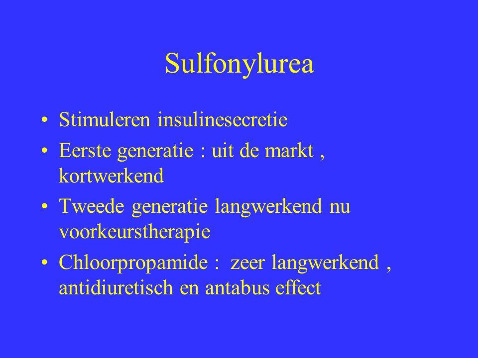 Sulfonylurea Vlak voor maaltijd Cave alcohol 1 tot 2 giften daags Cave nierinsufficientie Soms leucopenie, cholestatische hepatitis of huidrash Sterker bij gebruik met salicylaten, propanolol, fenylbutazone, MAO inhibitoren enz Niet gedurende zwangerschap