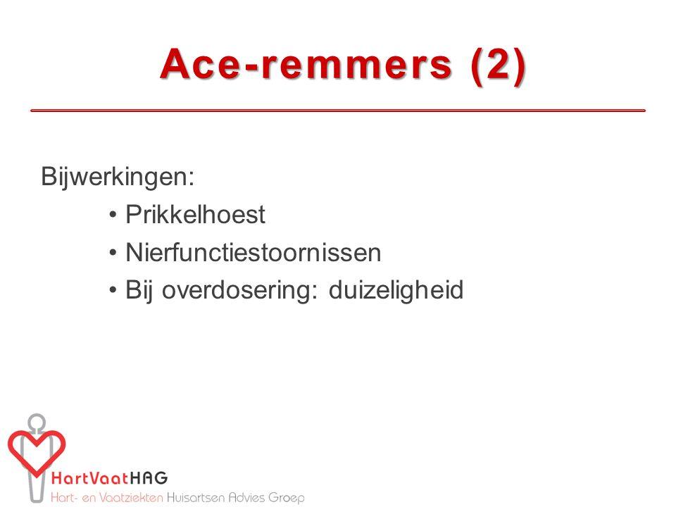 Ace-remmers (2) Ace-remmers (2) Bijwerkingen: Prikkelhoest Nierfunctiestoornissen Bij overdosering: duizeligheid