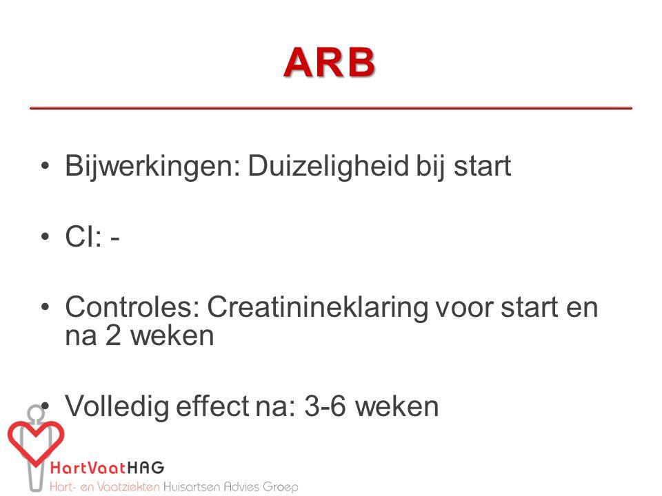ARB Bijwerkingen: Duizeligheid bij start CI: - Controles: Creatinineklaring voor start en na 2 weken Volledig effect na: 3-6 weken