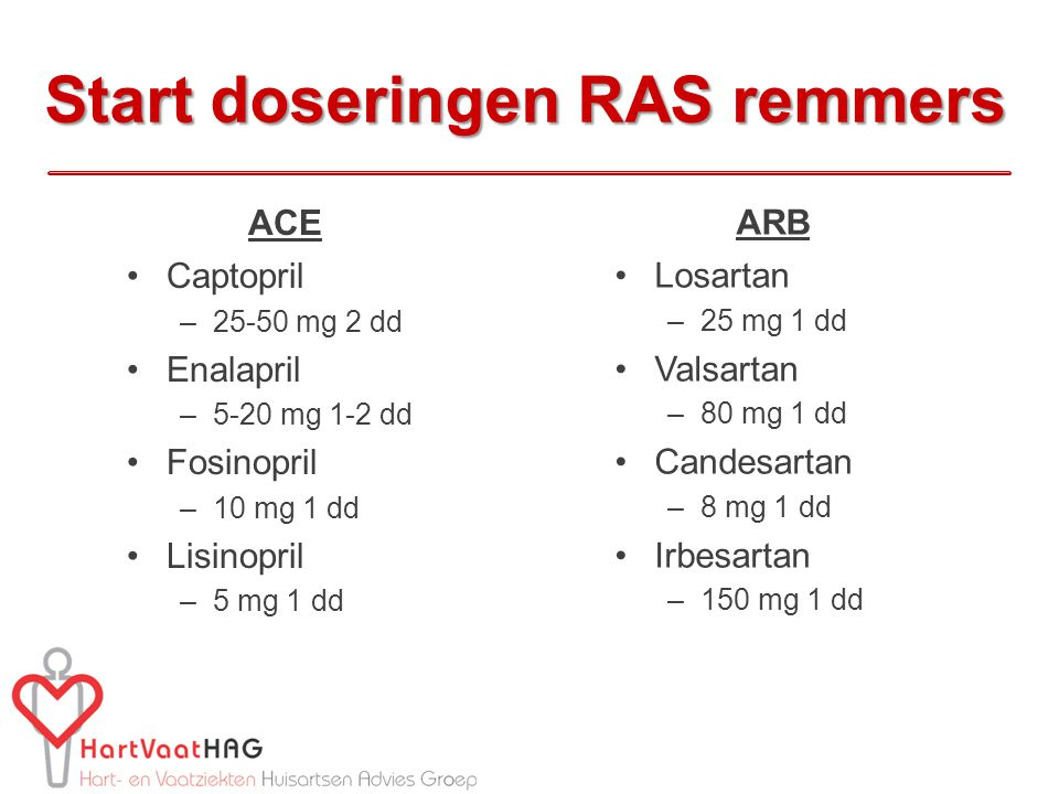 Start doseringen RAS remmers ACE Captopril –25-50 mg 2 dd Enalapril –5-20 mg 1-2 dd Fosinopril –10 mg 1 dd Lisinopril –5 mg 1 dd ARB Losartan –25 mg 1
