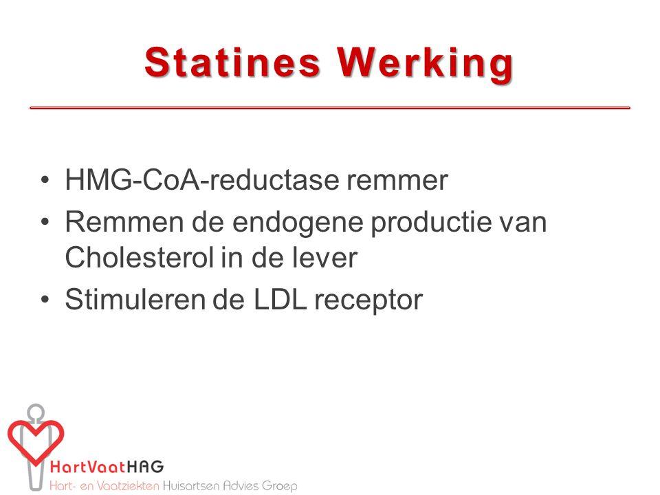 Statines Werking HMG-CoA-reductase remmer Remmen de endogene productie van Cholesterol in de lever Stimuleren de LDL receptor