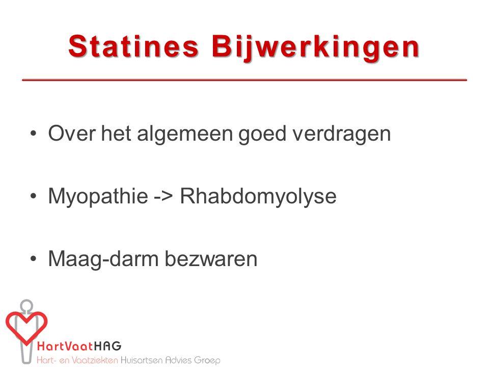 Statines Bijwerkingen Over het algemeen goed verdragen Myopathie -> Rhabdomyolyse Maag-darm bezwaren