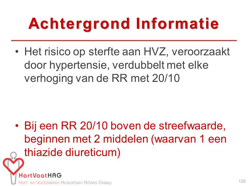 Achtergrond Informatie Het risico op sterfte aan HVZ, veroorzaakt door hypertensie, verdubbelt met elke verhoging van de RR met 20/10 Bij een RR 20/10 boven de streefwaarde, beginnen met 2 middelen (waarvan 1 een thiazide diureticum) 128